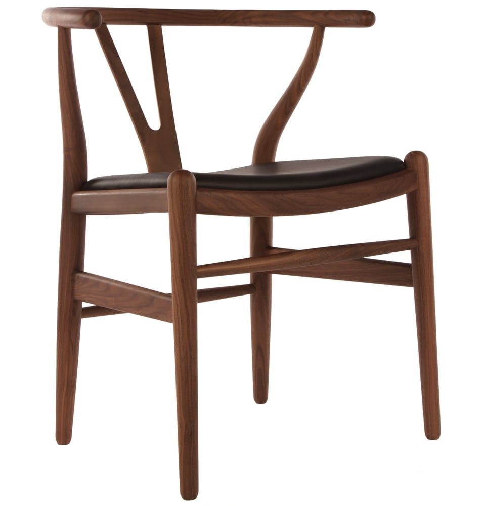 Wishbone Chair Walnut With Black Leather Seat Homage